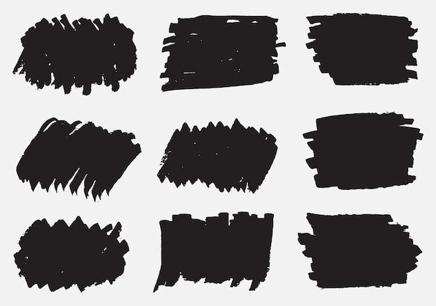 Banners de pincelada preta grunge