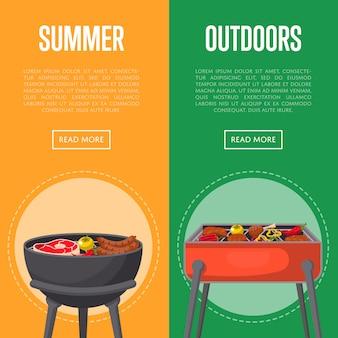 Banners de piquenique de verão ao ar livre com carnes no churrasco
