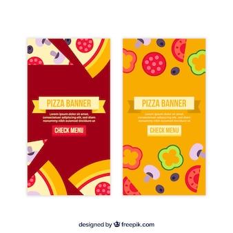 Banners de pizza com ingredientes em design plano
