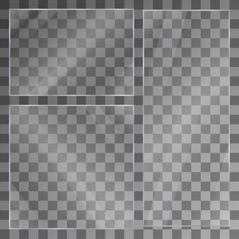 Banners de placa de vidro plano textura de painel 3d ou janela transparente efeito de luz para uma imagem ou espelho maquete realista de janelas conjunto de espelho em fundo transparente vitrine de vidro transparente