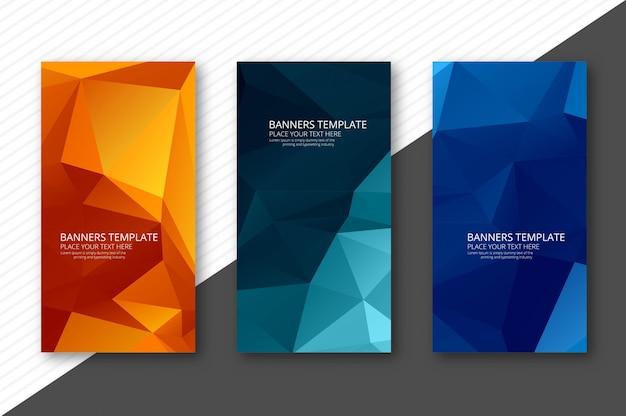 Banners de polígono geométricas coloridas abstratas