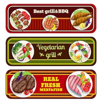 Banners de pratos de grelhados