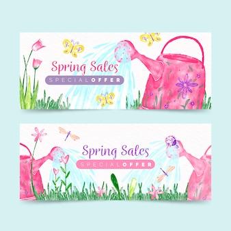 Banners de primavera com oferta especial