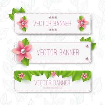 Banners de primavera ou verão com flores e folhas verdes