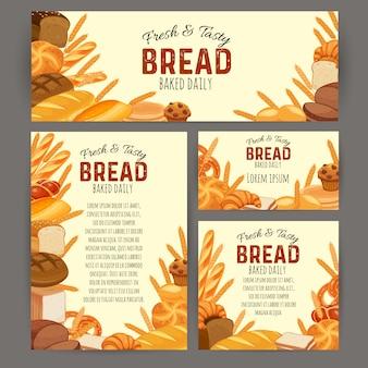 Banners de produtos de pão