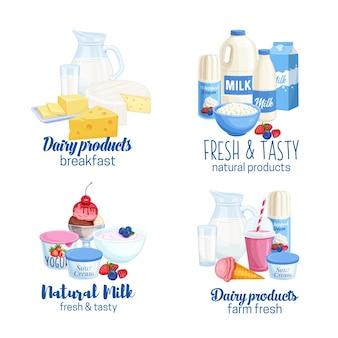 Banners de produtos lácteos.
