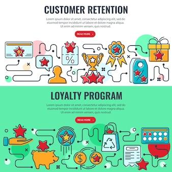 Banners de programa de fidelidade e retenção de clientes com ícones de linhas coloridas.
