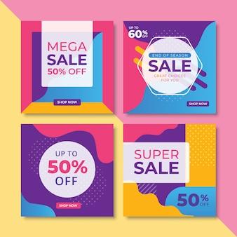 Banners de promoção de venda abstrata conjunto de tamanho quadrado