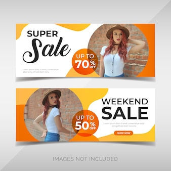 Banners de promoção de venda de moda