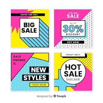 Banners de promoção de venda para coleta de mídia social