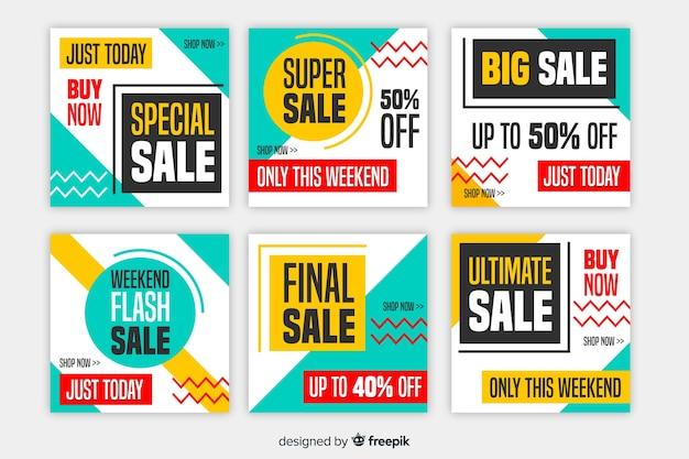 Banners de promoção de venda para mídias sociais