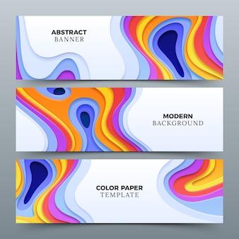 Banners de publicidade abstrata de moda com papel 3d cortando formas curvas.