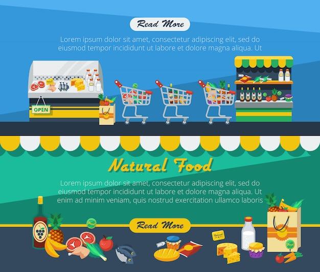 Banners de publicidade de supermercado