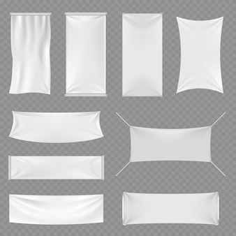 Banners de publicidade em branco branco têxtil