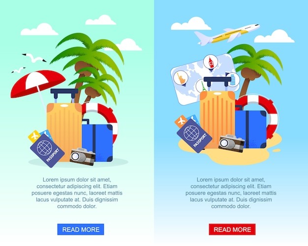 Banners de publicidade plana viagens conjunto com lugar para texto de promoção.