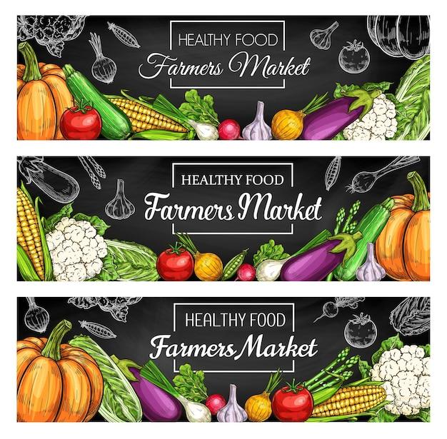 Banners de quadro de vegetais frescos de fazenda com esboços de vegetais colhidos no jardim Vetor Premium