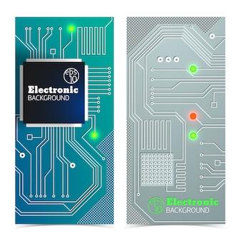 Banners de quadro eletrônico vertical definidos em cores cinza e azul com luzes brilhantes isoladas