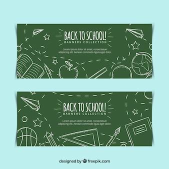 Banners de quadro-negro com desenhos escolares