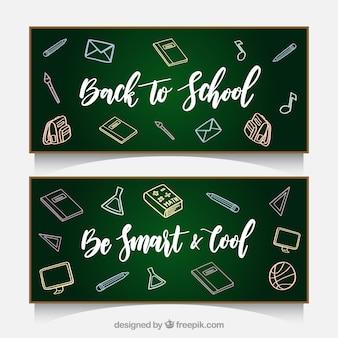Banners de quadro-negro com esboços de volta à escola