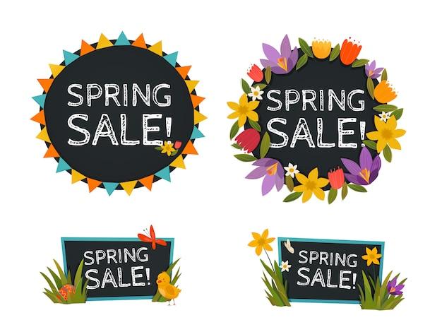 Banners de quadro-negro de venda de primavera