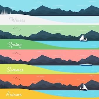 Banners de quatro estações com floresta e montanhas