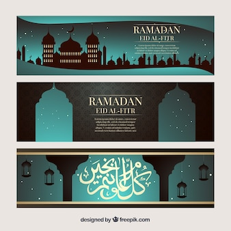 Banners de ramadã com mesquita iluminada