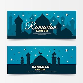 Banners de ramadan horizontal design plano
