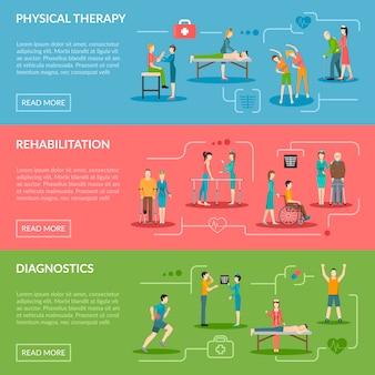 Banners de reabilitação de fisioterapia