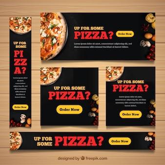Banners de restaurante com fotografia de comida