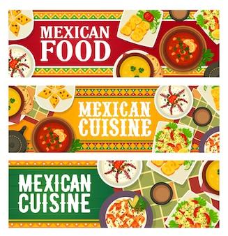 Banners de restaurante com menu de comida culinária mexicana com refeições