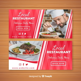 Banners de restaurante moderno com foto