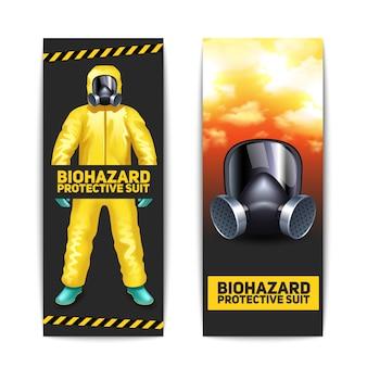 Banners de risco biológico conjunto com trabalhador em traje de proteção e óculos