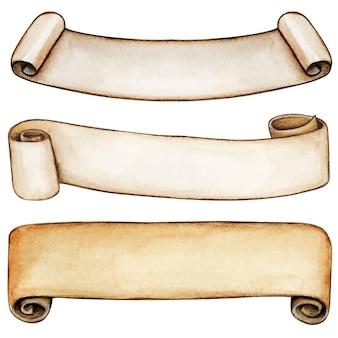 Banners de rolagem vintage em aquarela de alta qualidade