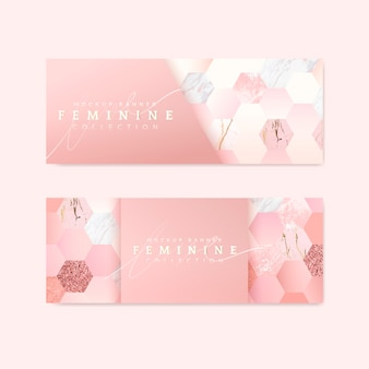 Banners-de-rosa femininos