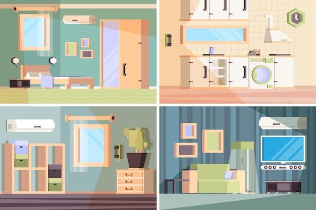 Banners de sala de estar. composição interna com diferentes móveis, cadeiras, mesas de cabeceira, lugares sentados, guarda-roupa, vetorial, imagens ortogonais. sala de estar interna da casa, cozinha e quarto com móveis