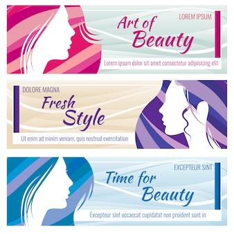 Banners de salão de beleza vetor definido com rosto de mulher jovem e bonita