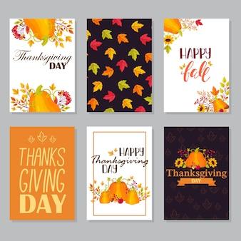 Banners de saudação do dia de ação de graças com abundância de comida, peru assado, colheita de vegetais, cornucópia, abóboras, frutas e vegetais. cartão de convite com elementos de design de giz de folhas de outono