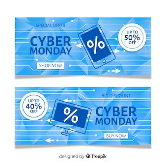Banners de segunda-feira cibernética em design plano