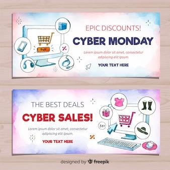 Banners de segunda-feira moderna cyber aquarela