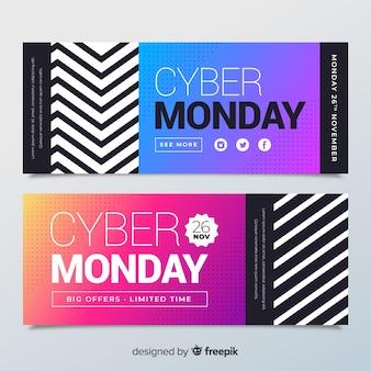 Banners de segunda-feira moderna cyber com estilo gradiente