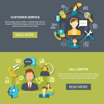 Banners de serviço de suporte ao cliente