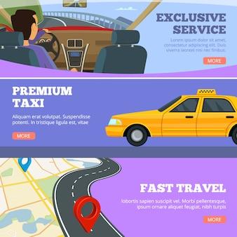 Banners de serviço de táxi. motorista de carros de serviço amarelo em panfletos de mapa de estrada premium automóvel modelo de publicidade