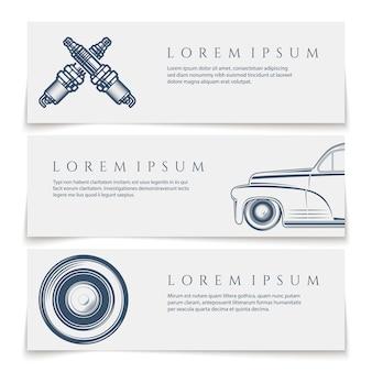 Banners de serviços de automóveis, logotipos, em fundo branco. ilustração