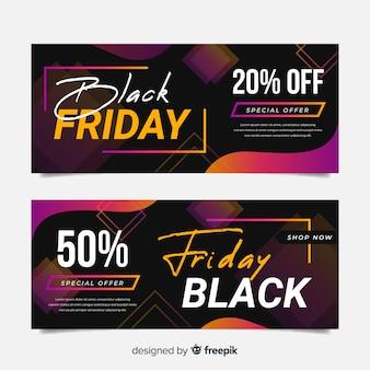Banners de sexta-feira negra colorida em design plano