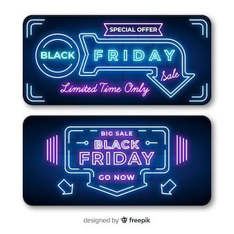 Banners de sexta-feira negra de néon com luzes de seta