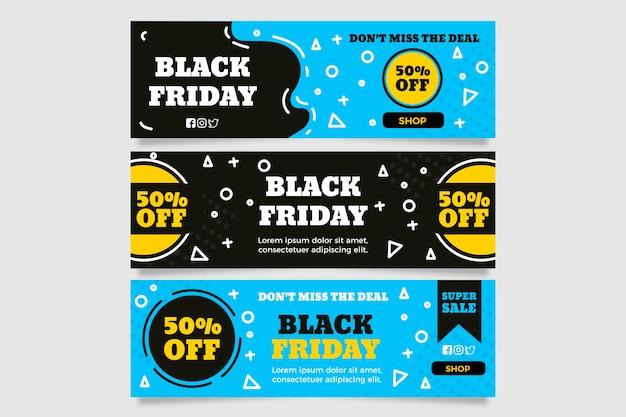 Banners de sexta-feira negra desenhada de mão