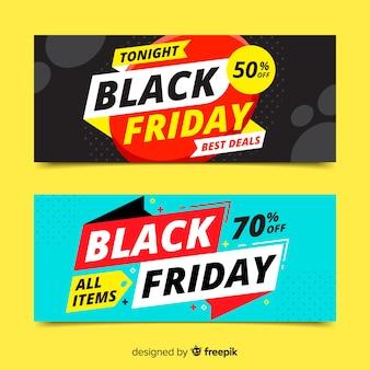 Banners de sexta-feira negra em design plano