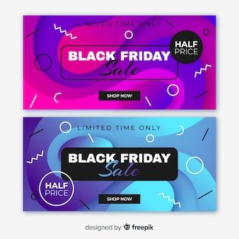 Banners de sexta-feira negra gradiente e estilo memphis