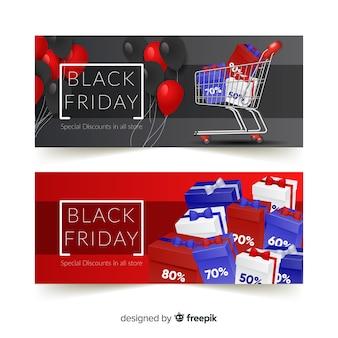 Banners de sexta-feira negra moderna com design realista