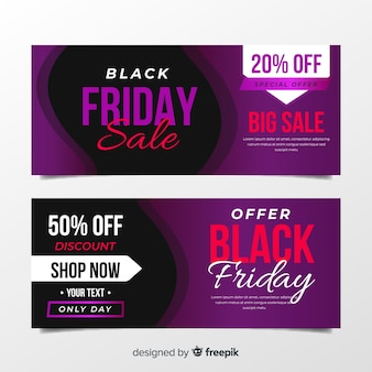 Banners de sexta-feira negra roxa em design plano